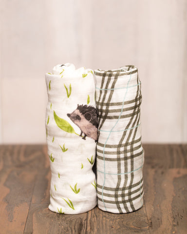 Deluxe Muslin Swaddle 2 Pack in Hedgehog - Noa & Vivi Kids Apparel