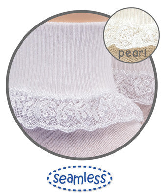 Pearl White Chantilly Lace Sock - Noa & Vivi Kids Apparel