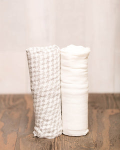 Deluxe Muslin Swaddle 2 Pack Houndstooth - Noa & Vivi Kids Apparel