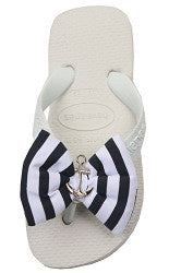 Navy White Bow Flip Flops|Size 7/8 - Noa & Vivi Kids Apparel