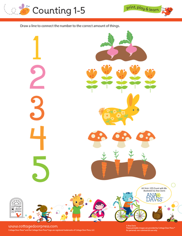 Free Counting Activity for Toddlers and Preschool 1-5