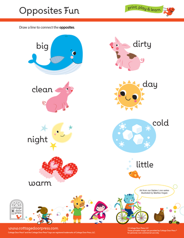 Free Opposites Activity for Toddlers and Preschool