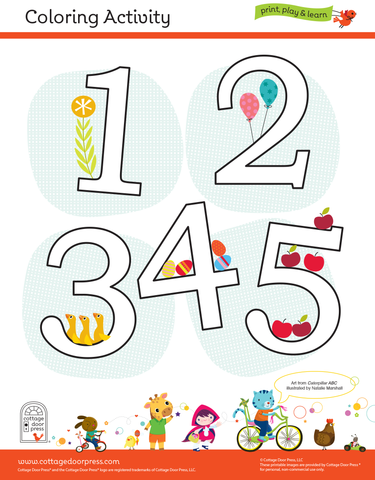 Free Coloring Activity for Toddlers and Preschool Numbers 1-5