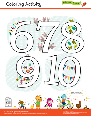 Free Coloring Activity for Toddlers and Presschool Numbers 6-10