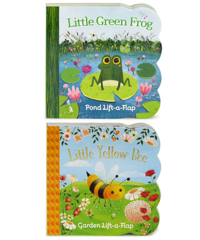 2 Pack - Little Green Frog & Little Yellow Bee Chunky Lift-a-Flap Books - Cottage Door Press