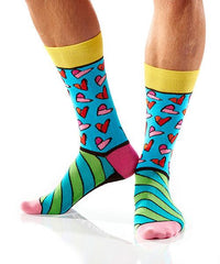 Art of the Heart Men's Crew Socks Model Image Side | Romero Britto Collection | Yo Sox Canada