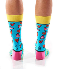 Art of the Heart Men's Crew Socks Model Image Back | Romero Britto Collection | Yo Sox Canada
