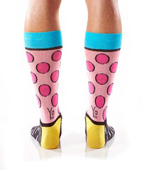 Pink Polka Men's Crew Socks Model Image Back | Romero Britto Collection | Yo Sox Canada