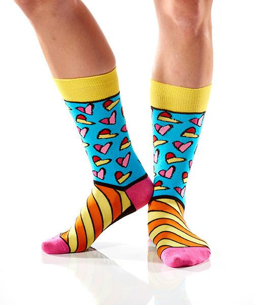 Art of the Heart Women's Crew Socks Model Image Side | Romero Britto Collection | Yo Sox Canada