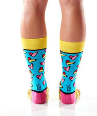 Art of the Heart Women's Crew Socks Model Image Back | Romero Britto Collection | Yo Sox Canada
