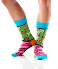 Flower Power Women's Crew Socks Model Image Side | Romero Britto Collection | Yo Sox Canada