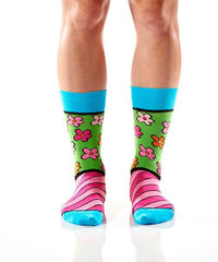 Flower Power Women's Crew Socks Model Image Front | Romero Britto Collection | Yo Sox Canada