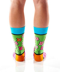 Flower Power Women's Crew Socks Model Image Back | Romero Britto Collection | Yo Sox Canada