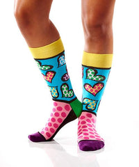 Spotted Hearts Women's Crew Socks Model Image Side | Romero Britto Collection | Yo Sox Canada