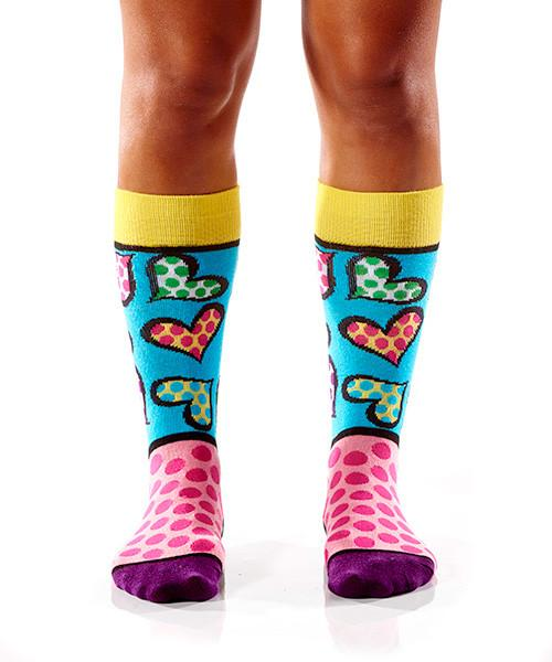 Spotted Hearts Women's Crew Socks Model Image Front | Romero Britto Collection | Yo Sox Canada