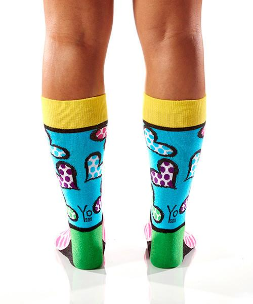 Spotted Hearts Women's Crew Socks Model Image Back | Romero Britto Collection | Yo Sox Canada