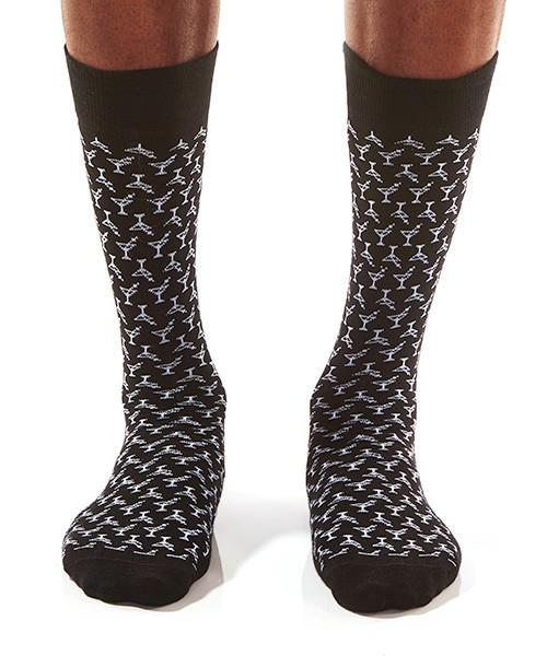 Martini Man Men's Crew Socks Model Image Front | Yo Sox Canada