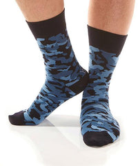 Blue Camo Men's Crew Socks Model Image Side | Yo Sox Canada