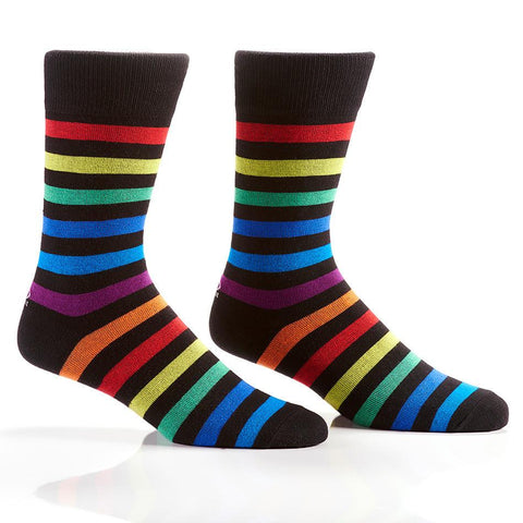 Rainbow Stripes: Men's Crew Socks