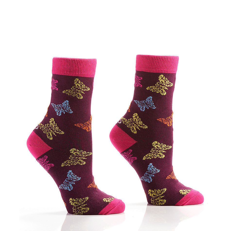 Multi-Colour Butterfly Women's Crew Socks | Yo Sox Canada