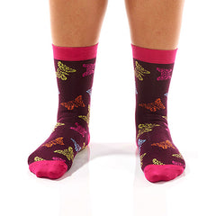 Multi-Color Butterfly Women's Crew Socks , Socks - Yo Sox, Canada Yo Sox  - 2