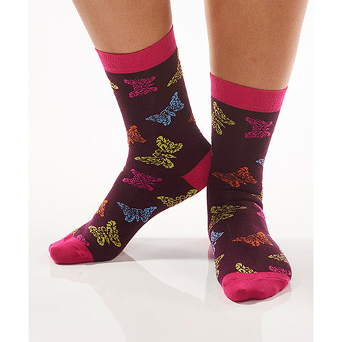 Multi-Color Butterfly Women's Crew Socks , Socks - Yo Sox, Canada Yo Sox  - 3