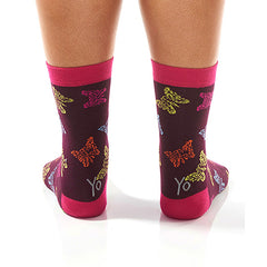 Multi-Color Butterfly Women's Crew Socks , Socks - Yo Sox, Canada Yo Sox  - 4