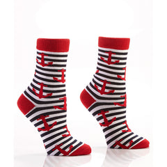 Red Anchor Nautical Stripe Women's Crew Socks | Yo Sox Canada