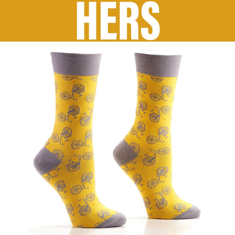 Yellow Bicycle Women's Crew Socks , Socks - Yo Sox, Canada Yo Sox  - 1