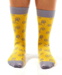 Yellow Bicycle Women's Crew Socks Model Image Front | Yo Sox Canada