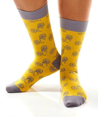 Yellow Bicycle Women's Crew Socks Model Image Side | Yo Sox Canada