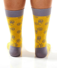 Yellow Bicycle Women's Crew Socks Model Image Back | Yo Sox Canada
