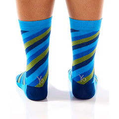 Electric Blue Diagonal Stripe Women's Crew Socks