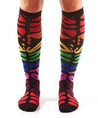 Multi-Colour Zebra Print Women's Knee-High Socks Model Image Front | Yo Sox Canada