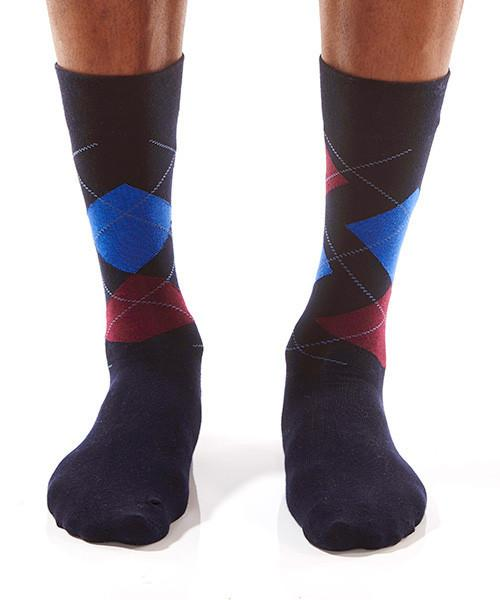 Blue & Red Triangle Men's Crew Socks Model Image Front | Yo Sox Canada