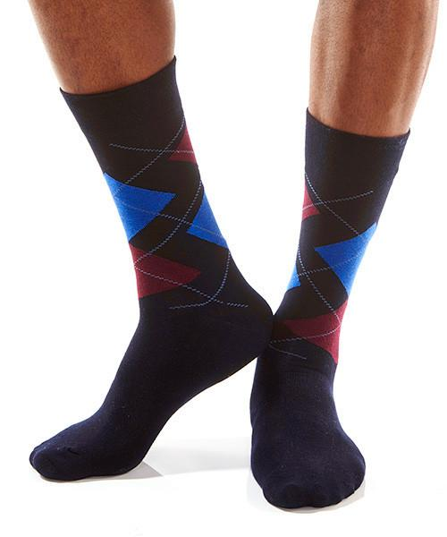 Blue & Red Triangle Men's Crew Socks Model Image Side | Yo Sox Canada