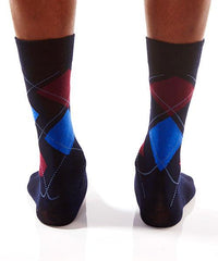 Blue & Red Triangle Men's Crew Socks Model Image Back | Yo Sox Canada