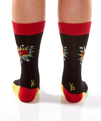 Ka-Pow! Superhero Men's Crew Socks Model Image Back | Yo Sox Canada