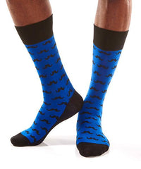 Blue Mustache: Men's Crew Socks - Yo Sox Canada