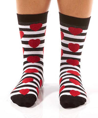Red Hearts & Stripes Women's Crew Socks Model Image Front | Yo Sox Canada