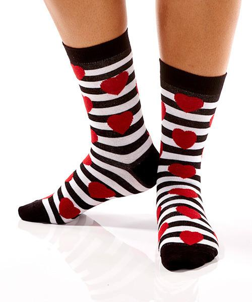 Red Hearts & Stripes Women's Crew Socks Model Image Side | Yo Sox Canada