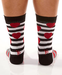Red Hearts & Stripes Women's Crew Socks Model Image Back | Yo Sox Canada