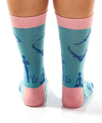 Pink Yoga Women's Crew Socks Model Image Back | Yo Sox Canada