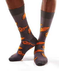 Chicken Wings Men's Crew Socks Model Image Side | Yo Sox Canada