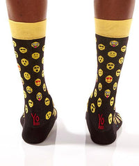 Emoji Life Men's Crew Socks Model Image Back | Yo Sox Canada