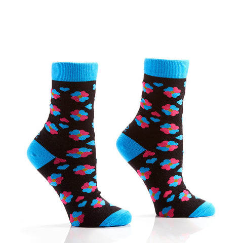 Blue & Pink Flower Hearts Women's Crew Socks | Yo Sox Canada