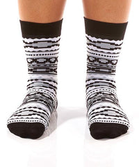 Black & Grey Aztec Women's Crew Socks Model Image Front | Yo Sox Canada