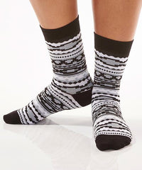 Black & Grey Aztec Women's Crew Socks Model Image Side | Yo Sox Canada