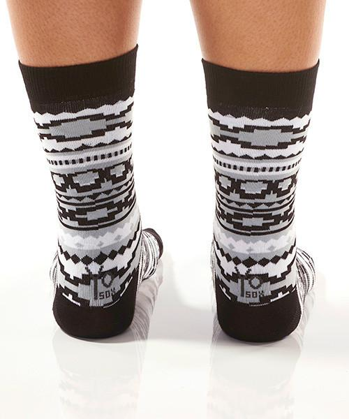 Black & Grey Aztec Women's Crew Socks Model Image Back | Yo Sox Canada