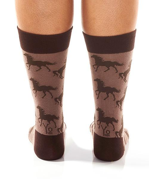 Mustang Horse Women's Crew Socks Model Image Back | Yo Sox Canada